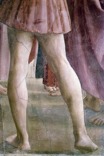 Stock Photo: 3810-412523 The Tribute Money, from The Life Of St. Peter cycle, by Masaccio, fresco, 1425-1428
