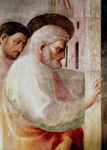 Stock Photo: 3810-412526 Healing Of The Cripple And The Resurrection Of Tabitha - Detail (From The Life Of St. Peter Cycle) 1425-28 Masaccio (1401-1428 Italian) Fresco Cappella Brancacci, Santa Maria del Carmine, Florence, Italy