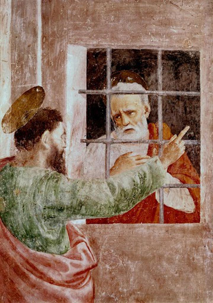 Stock Photo: 3810-412527 St. Peter In Jail 1425-28 Masaccio (1401-1428 Italian) Fresco Cappella Brancacci, Santa Maria del Carmine, Florence, Italy