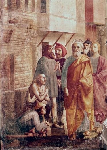 St. Peter Healing The Sick With His Shadow (From The Life Of St. Peter Cycle) 1425-28 Masaccio (1401-1428 Italian) Fresco Cappella Brancacci, Santa Maria del Carmine, Florence, Italy : Stock Photo