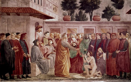 St. Peter Resurrects The Child Of Theophilus (From The Life Of St. Peter Cycle) 1425-28 Masaccio (1401-1428 Italian) Fresco Cappella Brancacci, Santa Maria del Carmine, Florence, Italy : Stock Photo