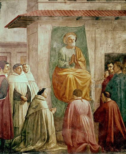 Stock Photo: 3810-412534 St. Peter In The Teacher's Chair (From The Life Of St. Peter Cycle) 1425-28 Masaccio (1401-1428 Italian) Fresco Cappella Brancacci, Santa Maria del Carmine, Florence, Italy