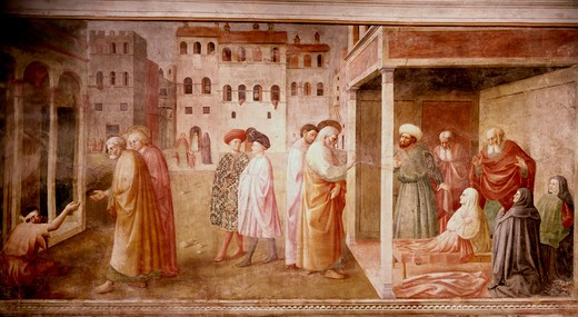 Stock Photo: 3810-412535 Healing Of The Cripple And The Resurrection Of Tabitha (From The Life Of St. Peter Cycle) 1425-28 Masaccio(1401-1428 Italian) Fresco Cappella Brancacci, Santa Maria del Carmine, Florence, Italy
