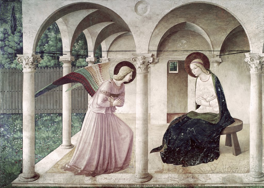 Stock Photo: 3810-412639 The Annunciation 1438-1445 Fra Angelico (ca.1395-1455 Italian) Fresco Museo di San Marco, Florence, Italy