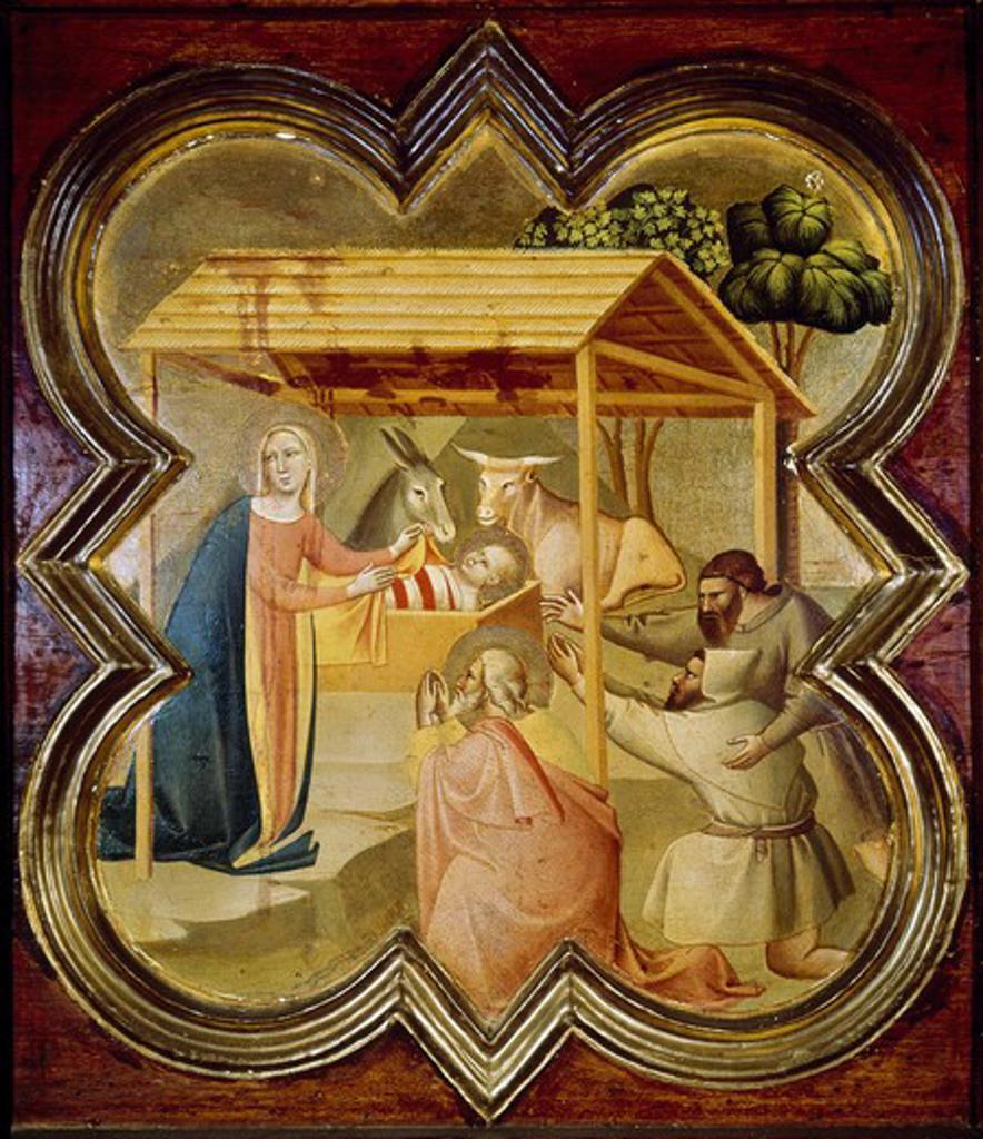 Stock Photo: 3810-412697 Adoration of the Shepherds Taddeo Gaddi (ca. 1300-1366 Italian)