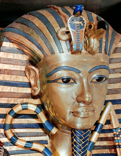 Stock Photo: 3810-440805 The Gold Mask of Tutankhamen, Gold inlaid jewels, 1342 BC, Egypt, Cairo, Egyptian Museum