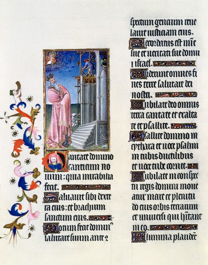 Stock Photo: 3810-514647 USA, New York, Metropolitan Museum of Art, Book of Hours: David Building the Temple by Limbourg Brothers, Illuminated manuscript, 1408-09