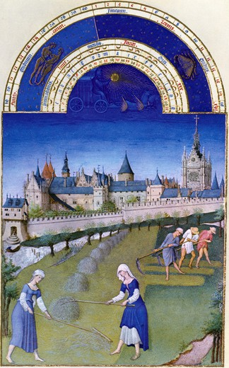 Stock Photo: 3810-514660 Harvest Time, by Limbourg Brothers, 15th Century, 1385-1416
