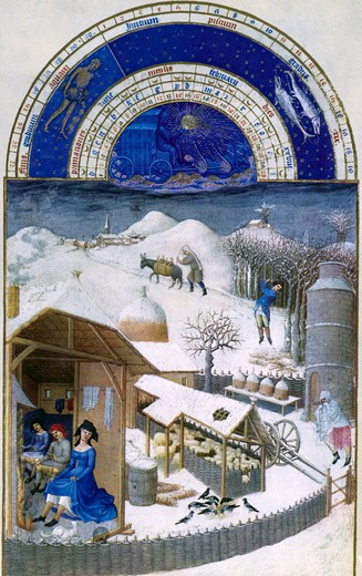 Winter on the Farm, by Limbourg Brothers, 15th Century, 1385-1416 : Stock Photo