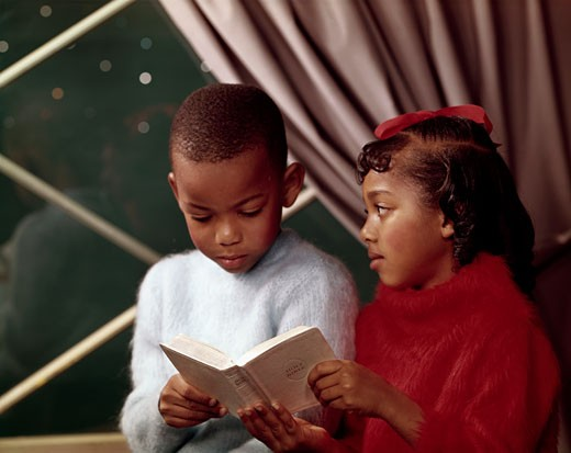 Stock Photo: 3811-362191 Close-up of a boy reading a book with his sister