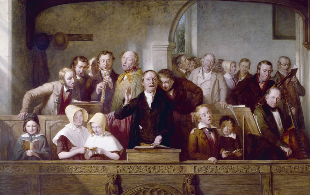 Stock Photo: 3815-130 A Village Choir by Thomas Webster, 1847, (1800-1886)