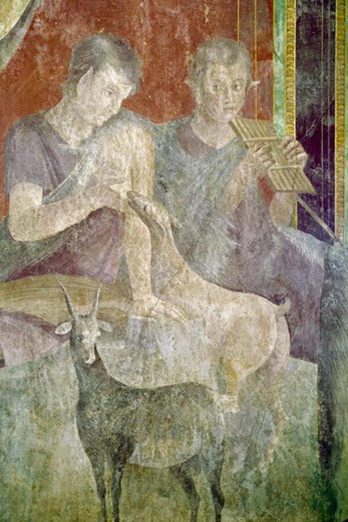 Stock Photo: 3815-395645 Roman fresco, Circa.60-50 BC, Italy, Pompeii, Villa of the Mysteries