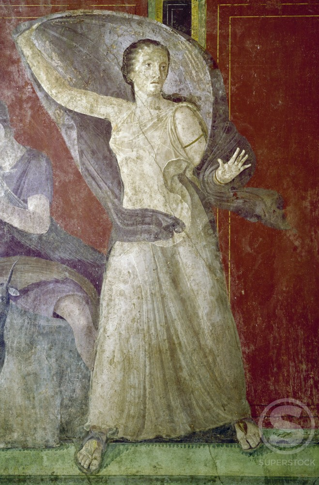 Stock Photo: 3815-395647 Italy, Pompeii, Villa of the Mysteries #11, fresco, circa 60-50 B.C., Roman Art