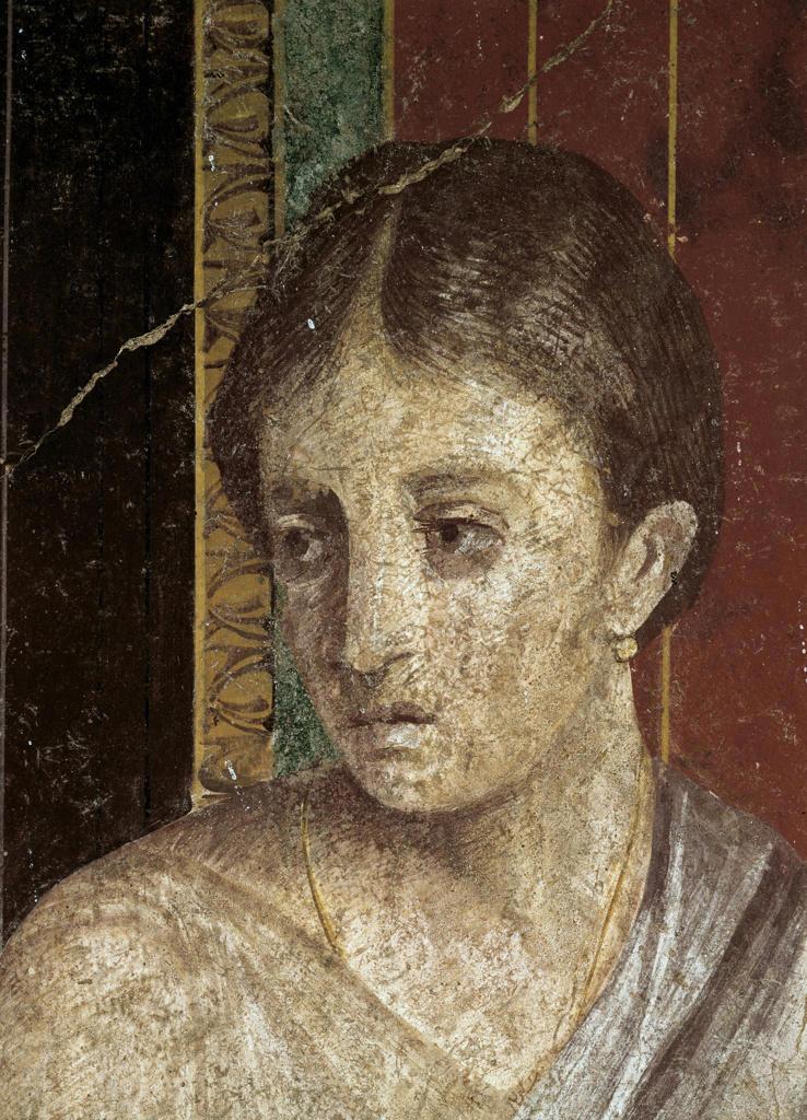 Stock Photo: 3815-395649 Wall Painting  (Detail)  c. 60-50 B.C.  Artist Unknown Fresco  Roman Villa of the Mysteries, Pompeii