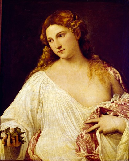 Flora by Titian, ca.1485-1576,  Italy,  Florence, Galleria degli Uffizi : Stock Photo