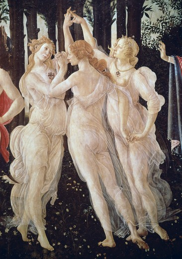Stock Photo: 3815-395664 La Primavera (Detail) Ca. 1481 Sandro Botticelli (1444-1510 Italian) Tempera On Wood Galleria degli Uffizi, Florence, Italy