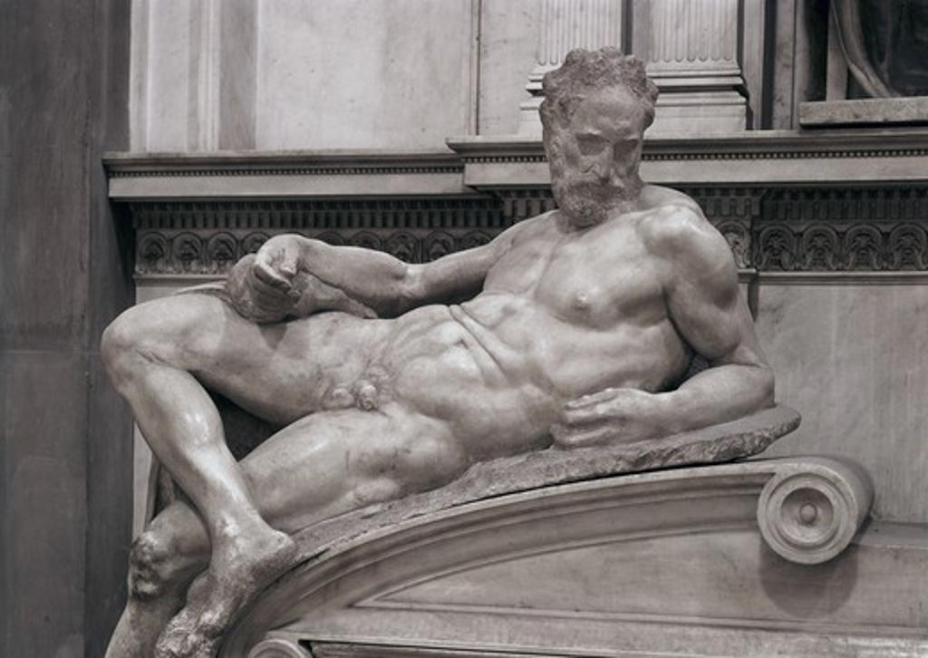 Stock Photo: 3815-395675 The Dusk C.1520-36 Michelangelo Buonarroti (1475-1564 Italian) Marble Sculpture Medici Chapel, Florence, Italy