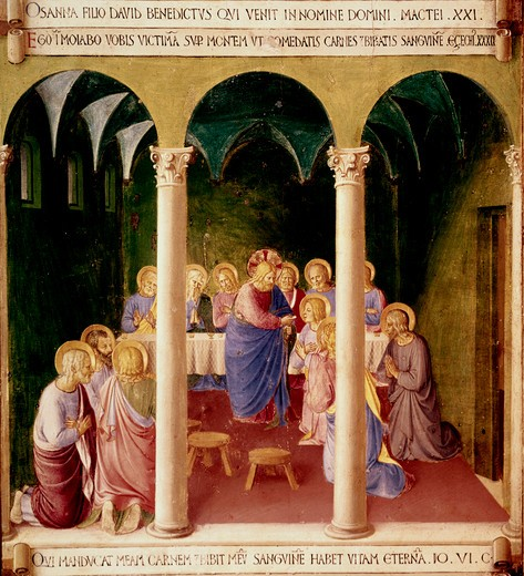 Stock Photo: 3815-398577 Communion Of The Apostles 1438-1445 Fra Angelico (ca.1395-1455 Italian) Fresco Museo di San Marco, Florence, Italy