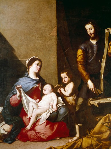 The Holy Family by Jusepe de Ribera,  (1591-1652),  Spain,  Toledo,  Iglesia Santa Cruz : Stock Photo