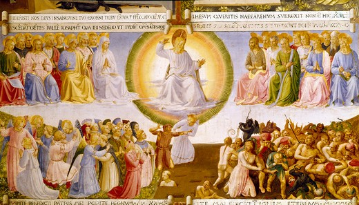Italy, Florence, Museo di San Marco, The Last Judgment by Fra Angelico, circa 1450-52 : Stock Photo