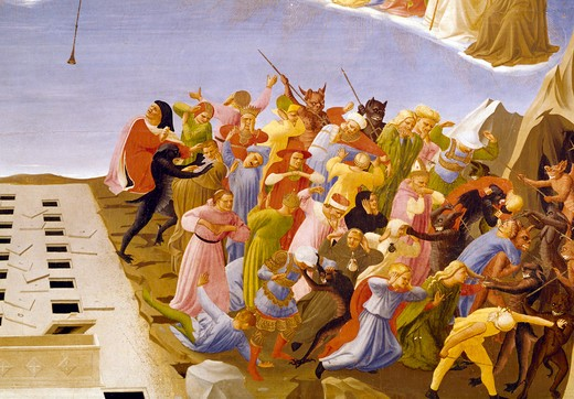 Stock Photo: 3815-412650 Italy, Florence, Museo di San Marco, The Last Judgment by Fra Angelico, detail, tempera painting, (1395 -1455)