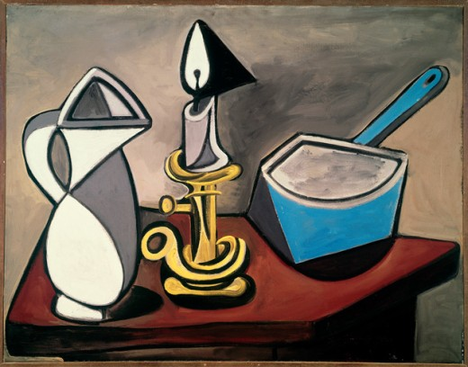 Pitcher, Candle & Casserole by Pablo Picasso, 1945, 1881-1973, France, Paris, Centre Georges Pompidou, Musee National d'Art Moderne : Stock Photo