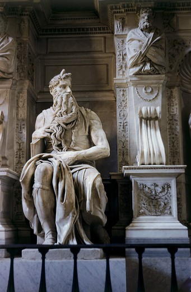 Moses  C.1513-15 Buonarroti, Michelangelo(1475-1564 Italian) Marble Sculpture San Pietro in Vincoli, Rome, Italy  : Stock Photo