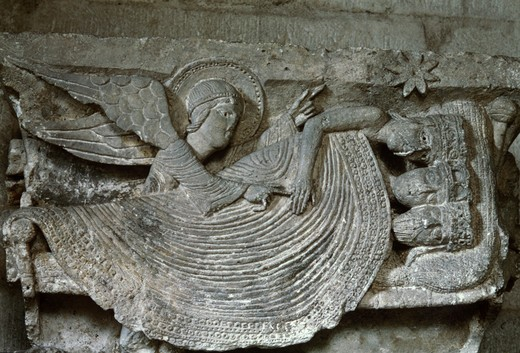 Stock Photo: 3844-201 Saint-Lazare Cathedral Capitals-Angel Detail