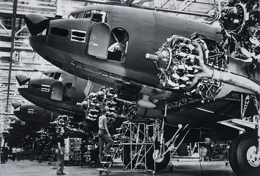Bomber planes in a factory : Stock Photo