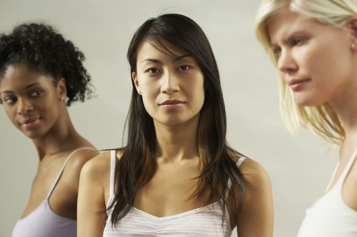 Close-up of three young women : Stock Photo