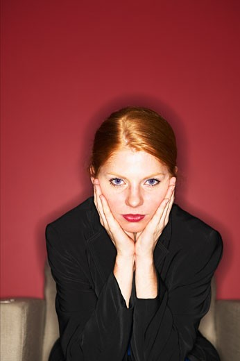 Portrait of a businesswoman thinking : Stock Photo