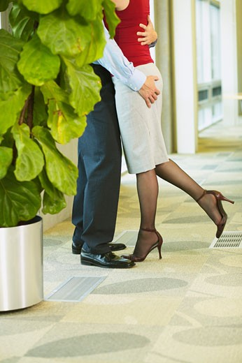 Stock Photo: 4001-603 Businessman and a businesswoman romancing in an office