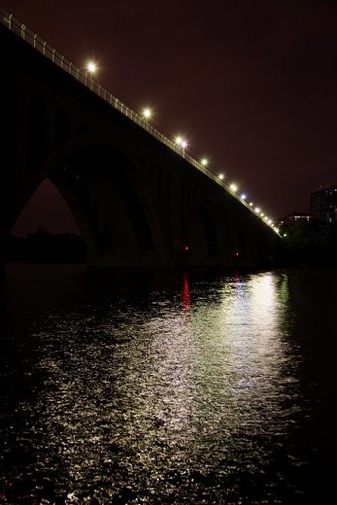 Stock Photo: 4001-822 Bridge across a river, Francis Scott Key Bridge, Potomac River, Washington DC, USA