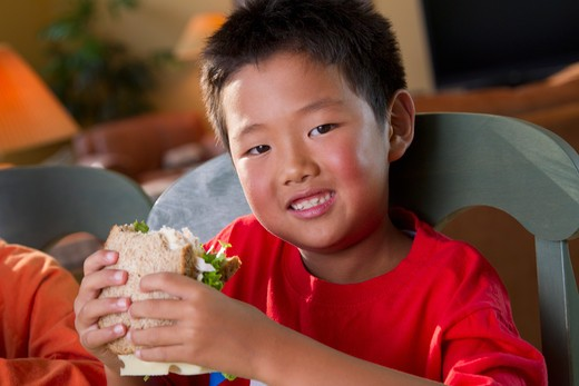 Stock Photo: 4001R-1402 Boy eating lunch