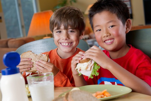 Stock Photo: 4001R-1404 Boys eating lunch together