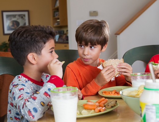 Stock Photo: 4001R-1407 Boys eating lunch together