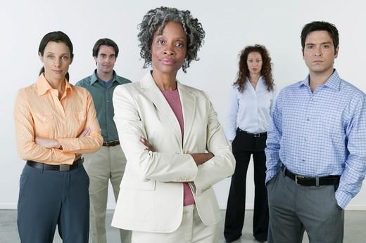 Businesswoman leading her team : Stock Photo