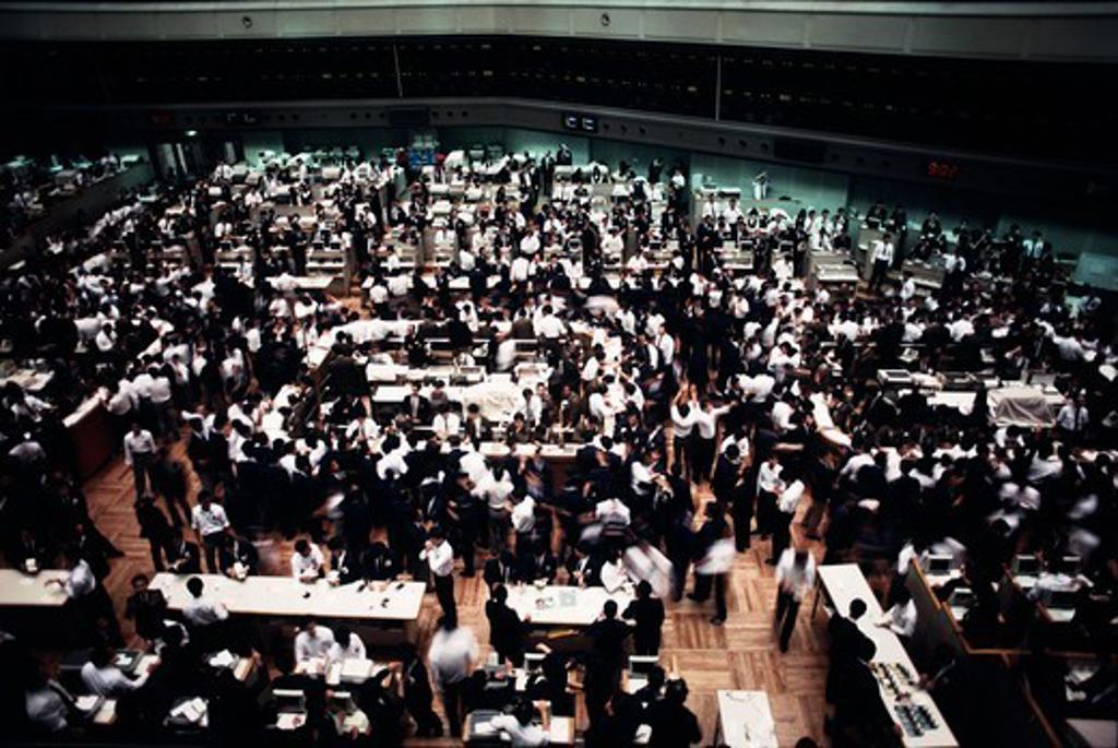 Stock Photo: 4009-1010 Interiors of Tokyo Stock Exchange, Tokyo, Japan