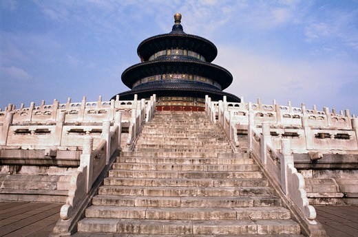 Stock Photo: 4009-1028 Steps of Hall Of Prayer For Good Harvests, Temple Of Heaven, Beijing, China