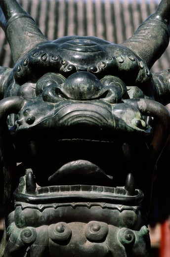 Chinese guardian lion at Gate Of Supreme Harmony, Forbidden City, Beijing, China : Stock Photo