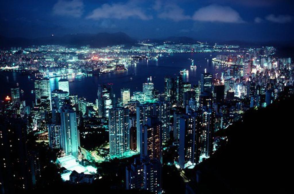 City lit up at night, Hong Kong : Stock Photo