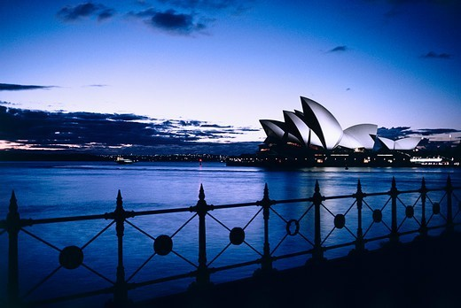 Stock Photo: 4009-1061 Sydney Opera House at dusk from Dawes Point, Sydney Opera House, Sydney, New South Wales, Australia