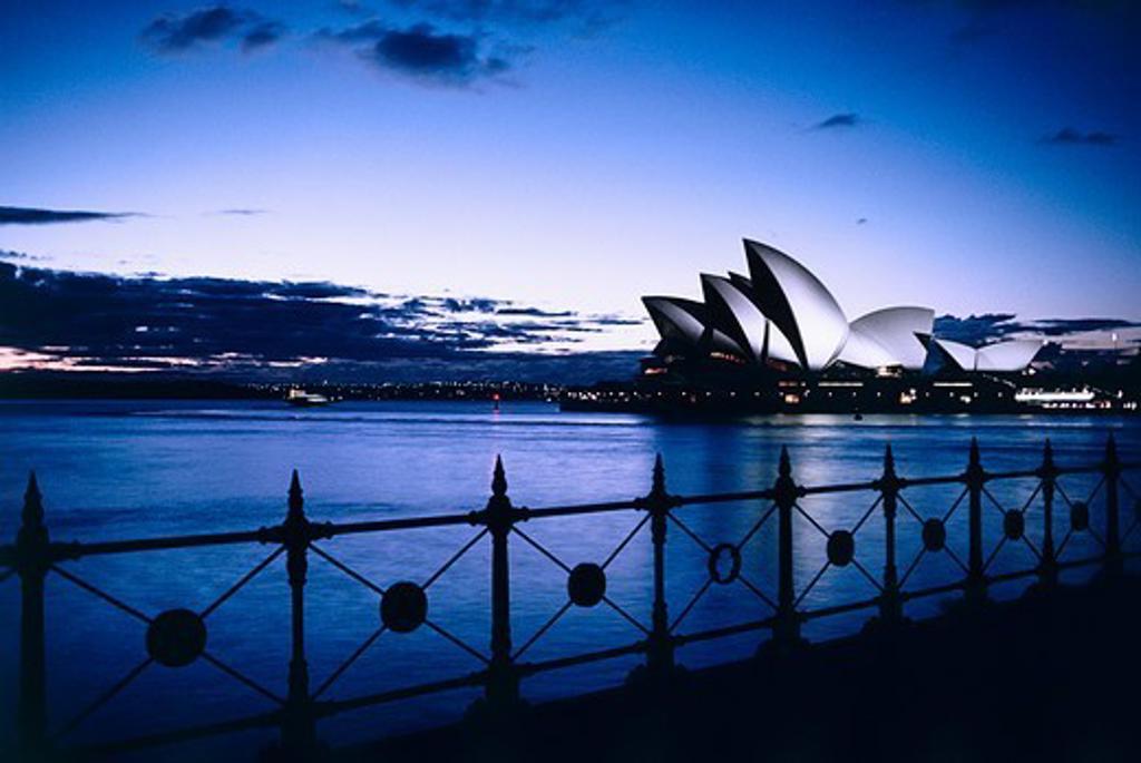 Sydney Opera House at dusk from Dawes Point, Sydney Opera House, Sydney, New South Wales, Australia : Stock Photo