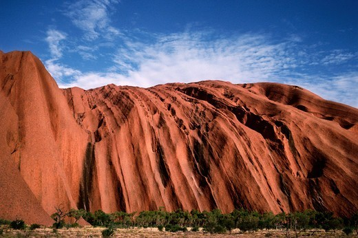 Sandstone rock formations, Uluru, Uluru-Kata Tjuta National Park, Northern Territory, Australia : Stock Photo
