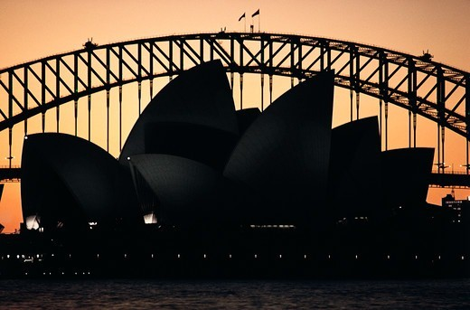 Stock Photo: 4009-1089 Silhouette of an opera house and bridge, Sydney Opera House, Sydney Harbor Bridge, Sydney, New South Wales, Australia