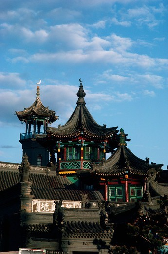 Stock Photo: 4009-1116 Details of towers at the Great Mosque, Hohhot, Inner Mongolia, China