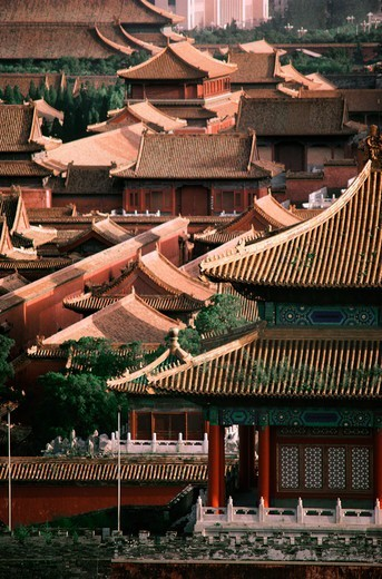 Stock Photo: 4009-1119 Roofs of buildings, Gate of Divine Might, Forbidden City, Beijing, China