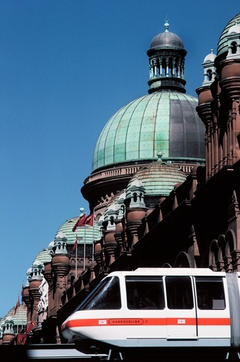 Monorail with a building in the background, Queen Victoria Building, Sydney, New South Wales, Australia : Stock Photo