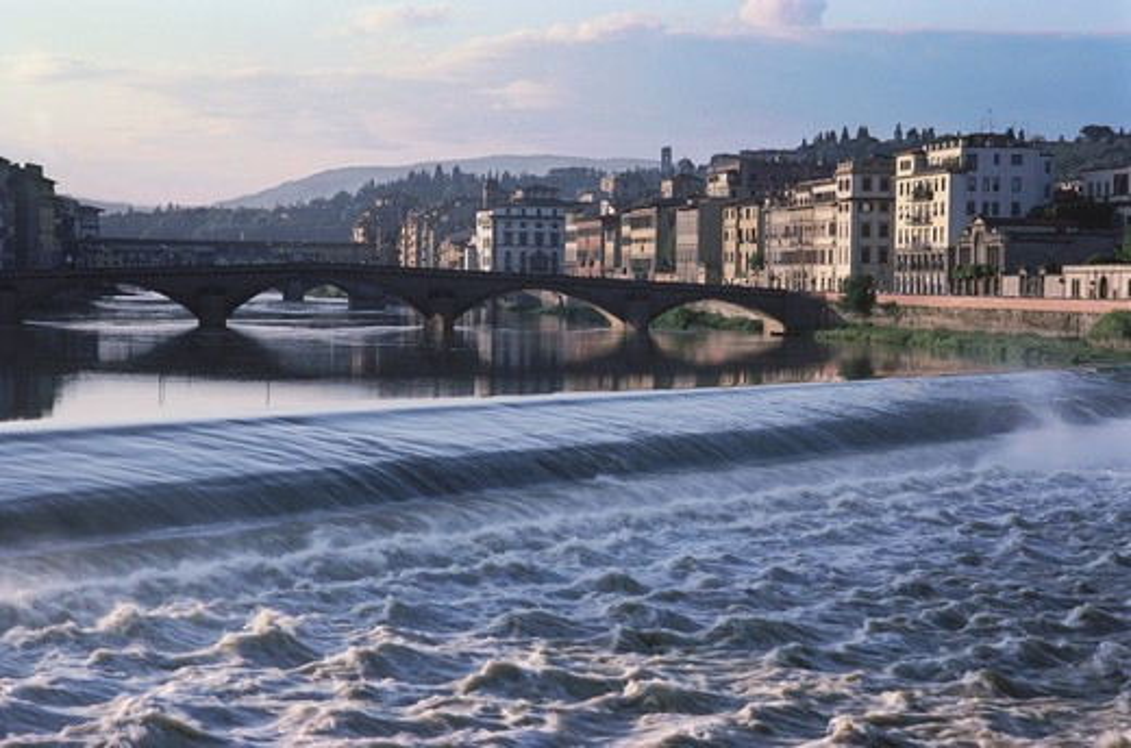 Stock Photo: 4009-475 Bridge over the river, Ponte Santa Trinita Bridge, Arno River, Florence, Italy