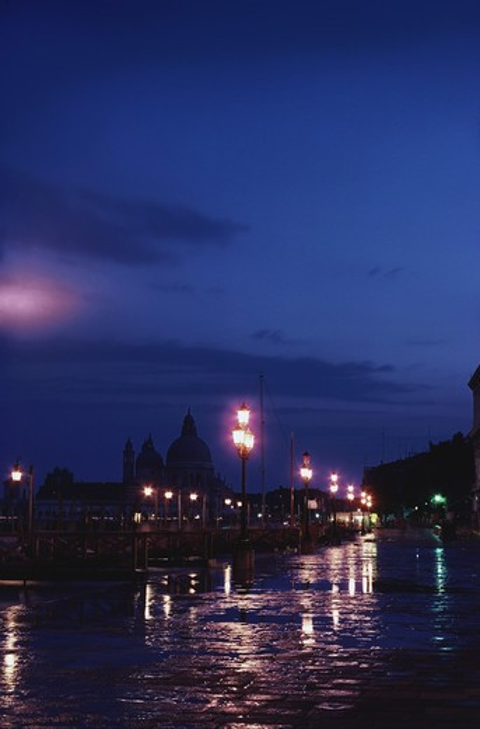 Wet walkway at night, Venice, Italy : Stock Photo
